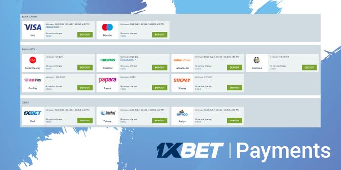 1xbet payments method