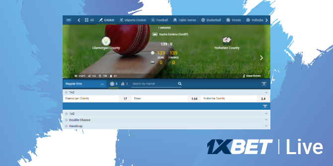 1xbet live betting option